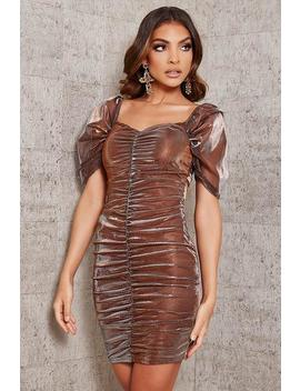 Copper Mesh Sleeve Ruched Front Bodycon Dress by I Saw It First