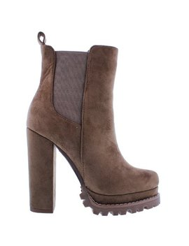 Monclair 5 Women Ankle High Platform Lug Sole Chunky Block High Heel Elastic Pull On Booties Boots Taupe by Liliana