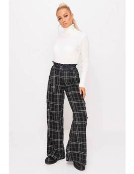 Black Woven Check Printed Belted Wide Leg Trousers by I Saw It First