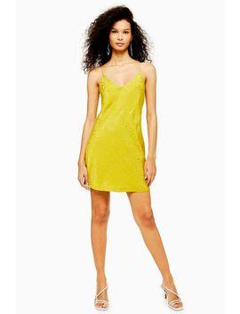 Chartreuse Jacquard Mini Slip Dress by Topshop