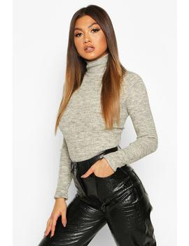 Fine Knit Polo Neck Long Sleeve Top by Boohoo