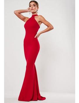 Red High Neck Maxi Dress by Missguided