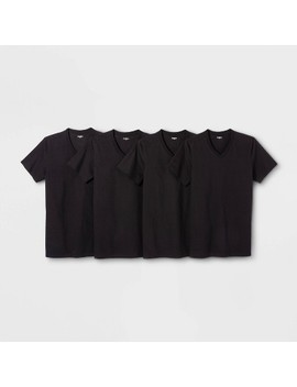 Men's 4pk V Neck T Shirt   Goodfellow & Co™ Black by Goodfellow & Co