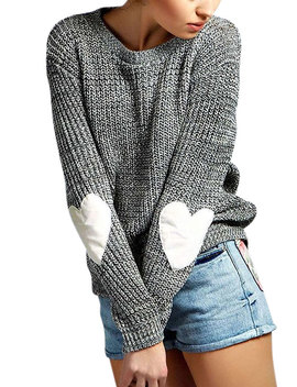 Women's Long Sleeve Heart Pattern Patchwork Sweater by Nlife