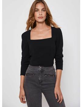 Black Square Neck Fitted Top by Mint Velvet