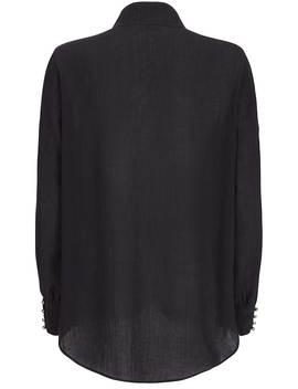 Black Oversized Button Blouse by Mint Velvet