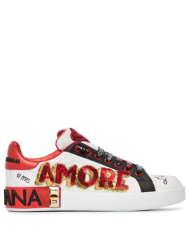 White, Red And Black Amore Heart Embroidered Leather Sneakers by Dolce & Gabbana