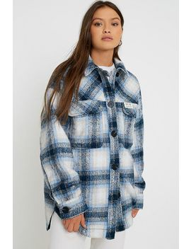 Uo Wool Check Shirt Jacket by Urban Outfitters