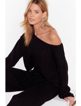 That's Knit Off The Shoulder Lounge Sweater And Pants Set by Nasty Gal