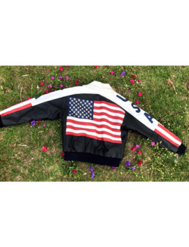 Vtg Mens Medium Usa Flag Leather Jacket 80s United States by Vintage  ×  Usa  ×