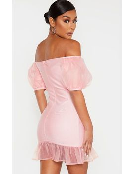 Blush Bandage Chiffon Frill Puff Sleeve Bodycon Dress by Prettylittlething