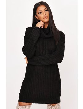 Black Knitted Cowl Neck Jumper Dress by I Saw It First