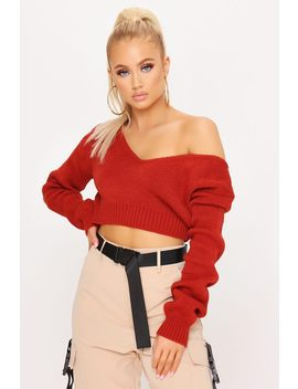 Rust V Neck Crop Jumper by I Saw It First