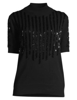 Sequin Funnel Neck Cashmere Top by Lafayette 148 New York