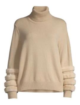 Mink Fur Trim Cashmere Turtleneck Sweater by Lafayette 148 New York