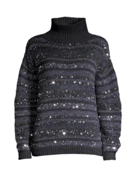 Striped Sequin Cashmere Sweater by Lafayette 148 New York