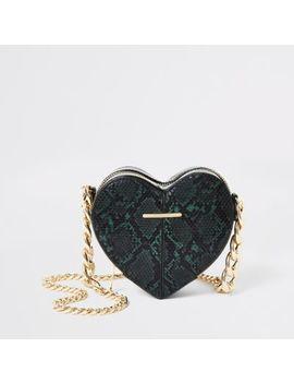 Green Snake Print Heart Shaped Cross Body Bag by River Island