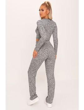Grey Popper Front Crop And Wide Leg Lounge Set by I Saw It First