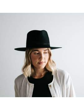 Miller Black With Black Band   Pinched Crown Fedora With Flat Brim by Gigi Pip