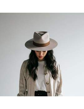 Miller Ivory   Pinched Crown Fedora With Flat Brim by Gigi Pip