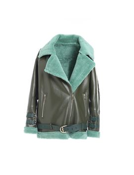 Oversized Khaki And Teal Aviator Jacket by Comino Couture London