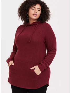 Super Soft Plush Red Cowl Neck Tunic Hoodie by Torrid