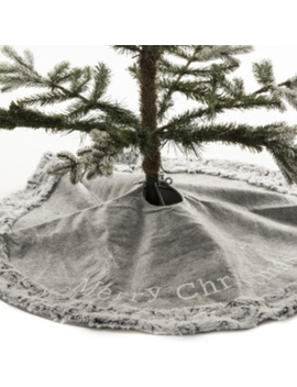 Merry Christmas Tree Skirt With Trim    Grey by The Range