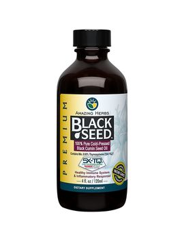 Premium Liquid Black Seed Oil   100% Pure Cold Pressed (4 Fluid Ounces) by Amazing Herbs