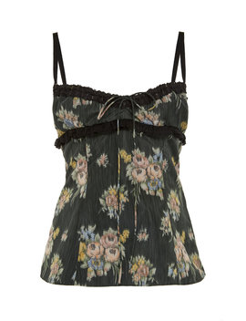 Lace Trimmed Floral Print Silk Georgette Top by Brock Collection