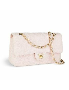 Chanel Rare Pink Tweed Medium Classic Double Flap Vintage Crossbody Bag by Chanel