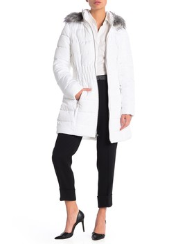 Faux Fur Trimmed Hooded Fitted Parka by Laundry By Shelli Segal