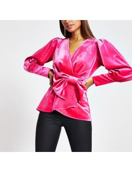 Pink Velvet Bow Front Blouse by River Island