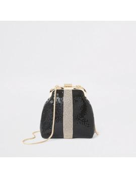 Black Diamante Block Chainmail Cliptop Bag by River Island
