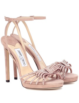 Kaite 120 Embellished Suede Sandals by Jimmy Choo