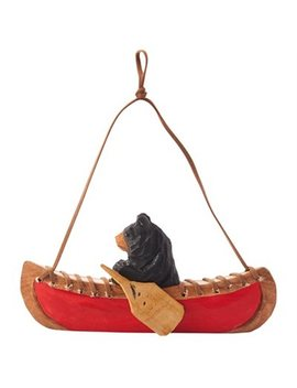 Xmas Bear Canoe Wood Ornament by Indigo