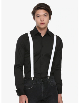 Basic White Suspenders by Hot Topic