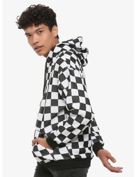 White &Amp; Black Check Hoodie by Hot Topic