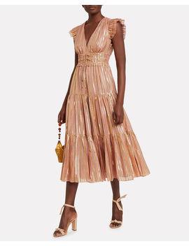 Justyne Gilded Silk Dress by Ulla Johnson