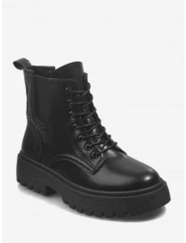 New Low Platform Pu Leather Cargo Boots   Black Eu 37 by Zaful