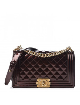 Chanel Metallic Patent Calfskin Quilted Medium Boy Flap Brown by Chanel