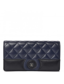 Chanel Lambskin Quilted Large Gusset Flap Wallet Navy Black by Chanel