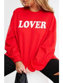 Curve Charlotte Crosby Red 'lover' Slogan Sweatshirt by In The Style