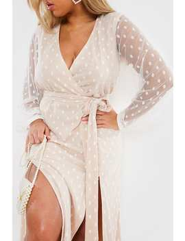 Curve Nude Polka Dot Split Maxi Dress by In The Style