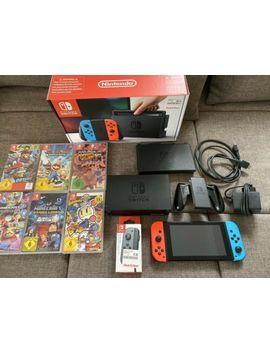 Nintendo Switch (Blau/Rot) Zubehörpaket (Schutzhülle + Joy Con Und 6 Spiele) by Ebay Seller