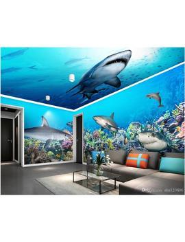 3d Wallpaer Custom Mural Photo Underwater World Shark House Background Wall Living Room Home Decor 3d Wall Murals Wallpaper For Walls 3 D by D Hgate.Com