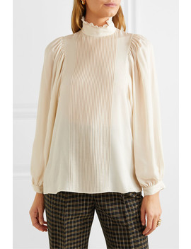 Murphy Ruffled Pintucked Silk Blend Chiffon Blouse by Vanessa Bruno