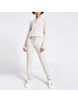 Beige Sequin Embellished Knitted Joggers by River Island