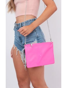 Neon Pink Envelope Clutch Cross Body Bag   River by Femme Luxe
