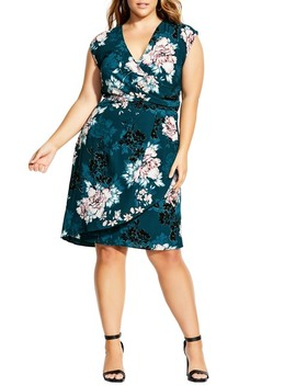 Floral Print Wrap Cap Sleeve Dress (Plus Size) by City Chic