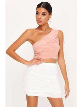 White Ruched Mesh Mini Skirt by I Saw It First